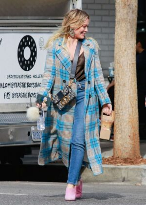 Hilary Duff in Long Coat – Out in Los Angeles