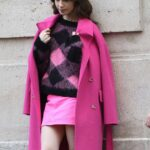 Lily Collins in Pink – On the set of 'Emily in Paris' in Paris