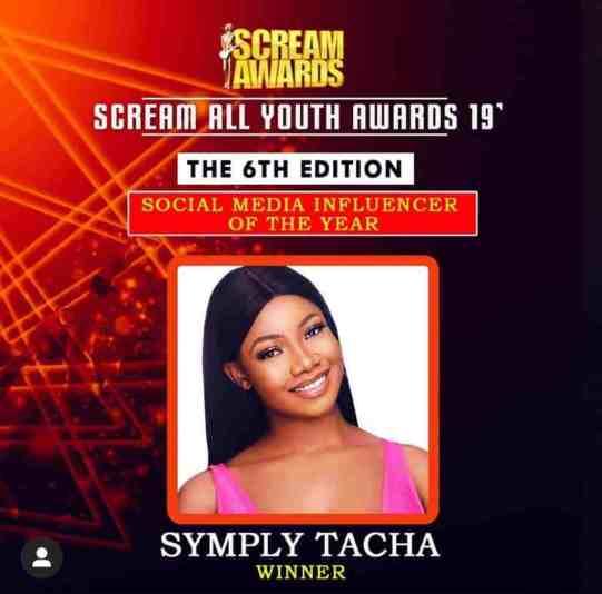 Tacha Bags Scream Awards As Social Media Influencer Of The Year