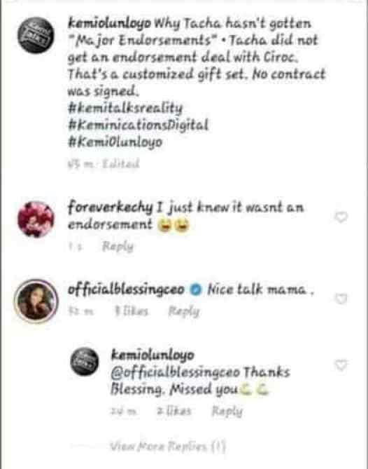 Kemi Olunloyo said Tacha Did Not Sign An Endorsement Deal With Ciroc