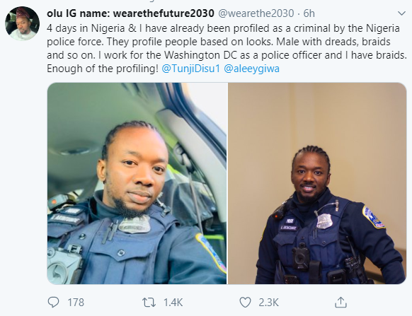 """""""4 Days In Nigeria And I Have Already Been Profiled As A Criminal By The Nigerian Police Force Because I Have Braids"""" – Washington DC Police Officer Laments"""