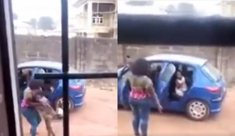 Shocking moment angry woman lifts up her maid, slams her to the ground (Watch Video)