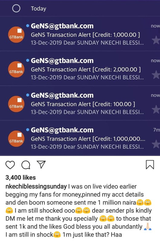 """""""A Stranger Sent Me N1m After I Was On Live Video Today Begging For Money"""" – Nkechi Blessing Sunday"""