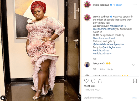 Actress, Eniola Badmus Shades Omotola As She Steps Out In Beautiful Outfit For A Wedding