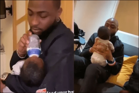 Davido Feeding His Son, David Ifeanyi Surfaces Online