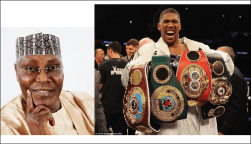 Atiku Reacts To Anthony Joshua's Victory