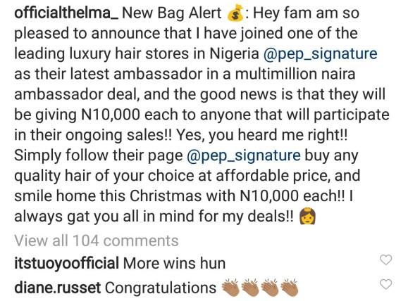 #BBNaija: Thelma Now Brand Ambassador Of Pep Signature