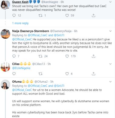 BBNaija's Ceec Attacks Tacha Fans Trolling Her For Showing Solidarity To Uti Nwachukwu