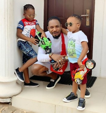 Fans Blasts Nollywood Actor, Junior Pope For Plaiting His Sons Hair