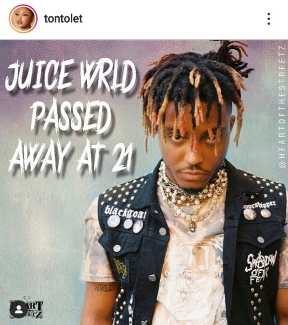 """""""Greatest Gift God Gave Man, Is Our Mouth"""" – Tonto Dikeh Reacts To The Death Of Juice Wrld"""