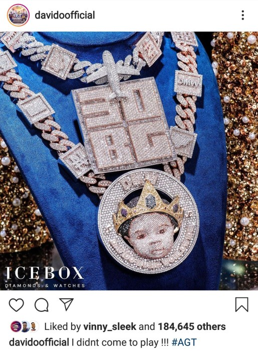 """""""I Didn't Come To Play"""" – Davido Says As He Flaunts His New N150m Diamond Encrusted Necklace"""
