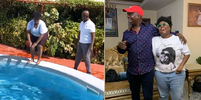Ned Nwoko Filmed Teaching Singer, Teni How To Swim At His Home (Watch Video)