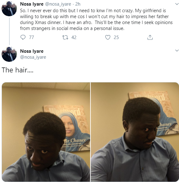 Nigerian Man Seeks Advice After Girlfriend Threatened To Jilt Him Because He Refused To Cut His Afro To Impress Her Father