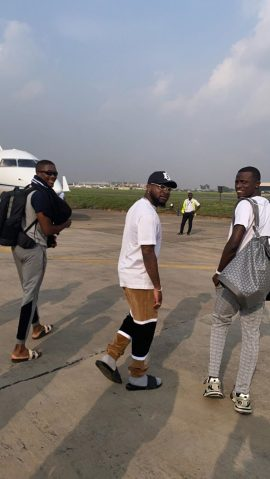 OBO Way!! Davido Repaints His 'private Jet' As He Returns To Lagos (Photos)