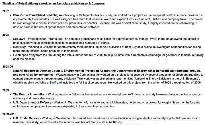 A list of Pete Buttigieg's clients at McKinsey.