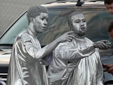 Rapper, Kanye West Paints Entire Body Silver To Perform The Birth Of Jesus Christ Play (Photos)