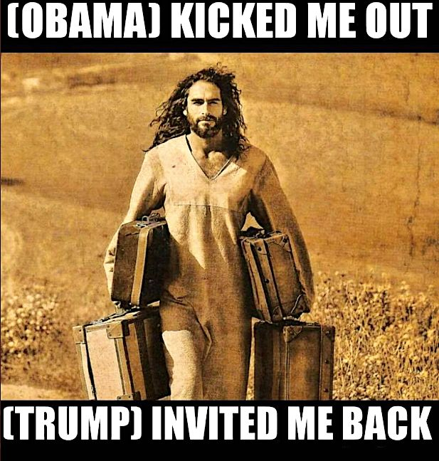 Trump Retweets Meme That Jesus Likes Him Better Than Obama. Critics Raise Holy Hell.