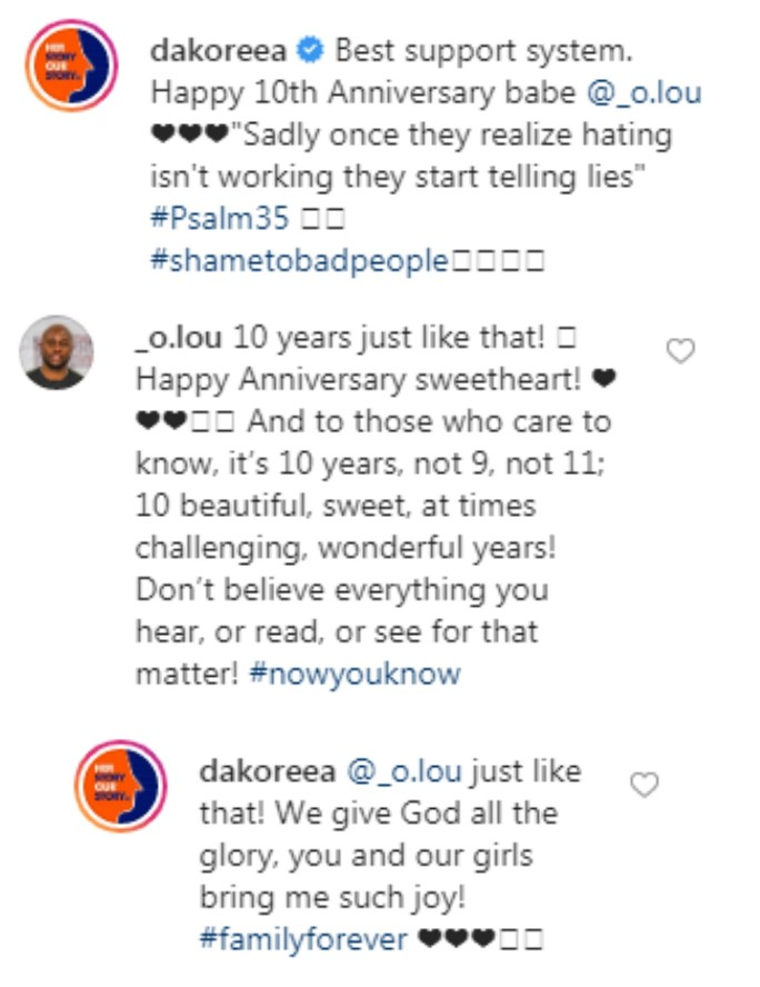 """Shame On Bad People"" – Dakore Akande And Husband Reacts To Divorce Rumor, Mark 10th Wedding Anniversary"