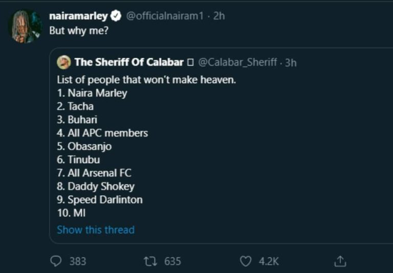 Naira Marley Reacts After Making The List Of Celebs Who Won't Make Heaven