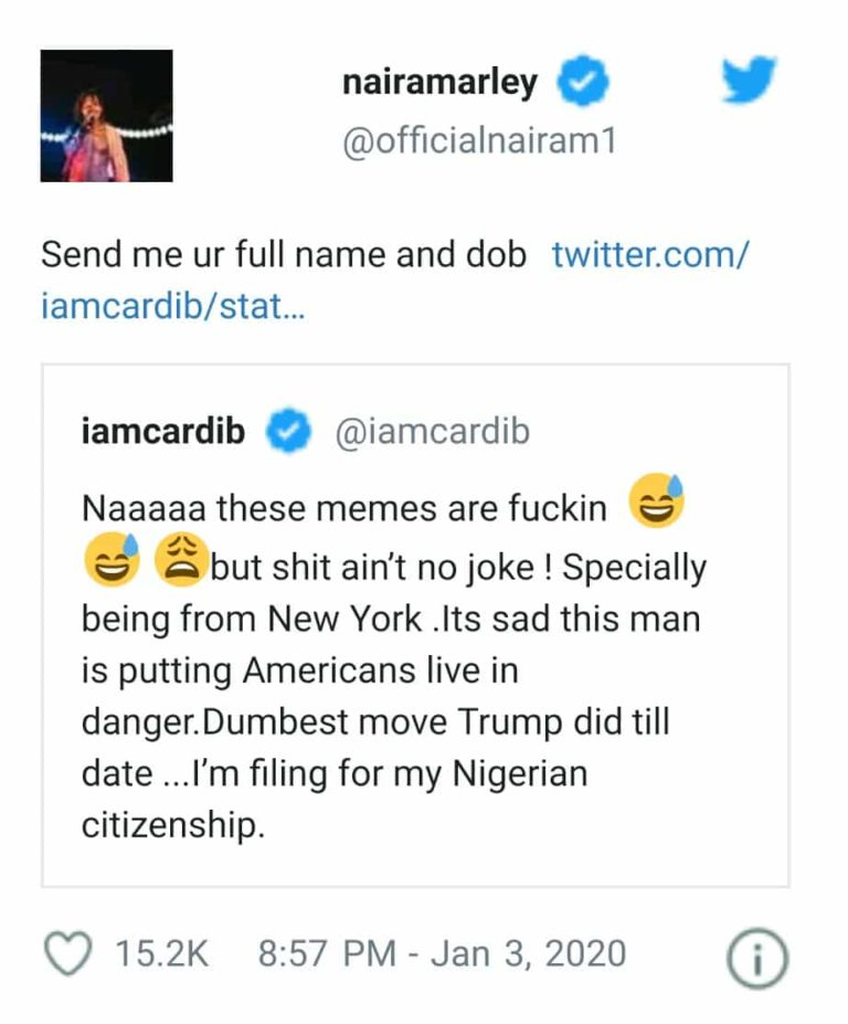 Naira Marley Reacts As Cardi B Set To Apply For Nigerian Citizenship