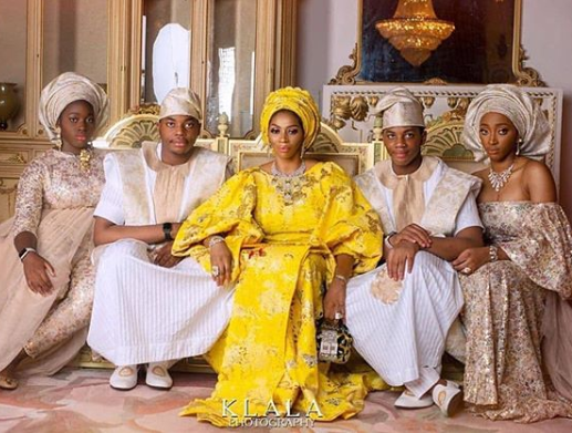 Beautiful photo of billionaire wife, Shade Okoya and her kids
