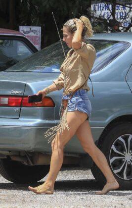 Elsa Pataky in Tight Denim Shorts at Byron Bay