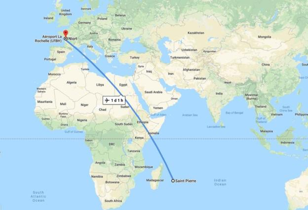 The total journey time between Reunion and France is more than one day, according to Google Maps