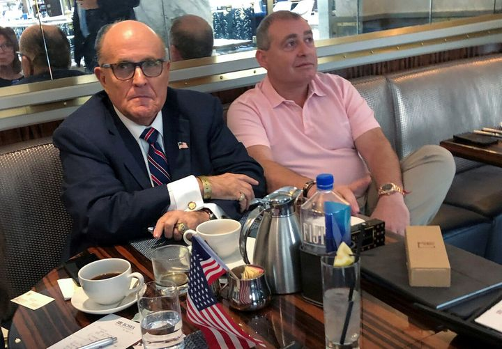 U.S. President Trump's personal lawyer Rudy Giuliani has coffee with Ukrainian-American businessman Lev Parnas at the Trump I