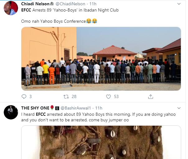 Nigerians slam EFCC over arrest of suspected yahoo boys at popular Ibadan nightclub lindaikejisblog 1