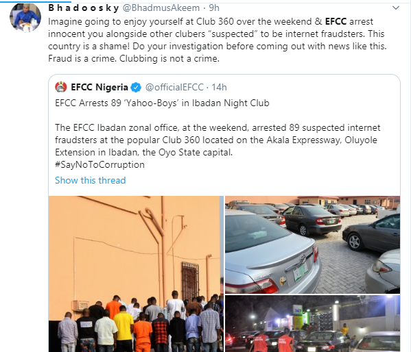 Nigerians slam EFCC over arrest of suspected yahoo boys at popular Ibadan nightclub lindaikejisblog 2