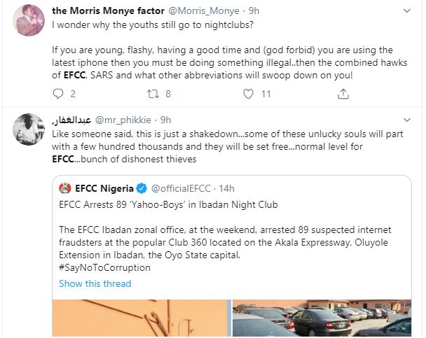 Nigerians slam EFCC over arrest of suspected yahoo boys at popular Ibadan nightclub lindaikejisblog 5