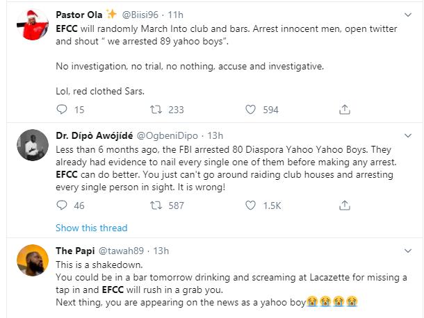 Nigerians slam EFCC over arrest of suspected yahoo boys at popular Ibadan nightclub lindaikejisblog 7