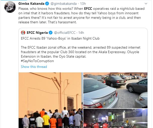 Nigerians slam EFCC over arrest of suspected yahoo boys at popular Ibadan nightclub lindaikejisblog 9