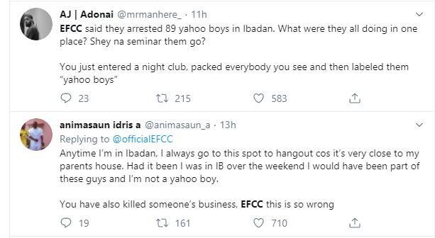 Nigerians slam EFCC over arrest of suspected yahoo boys at popular Ibadan nightclub lindaikejisblog 10