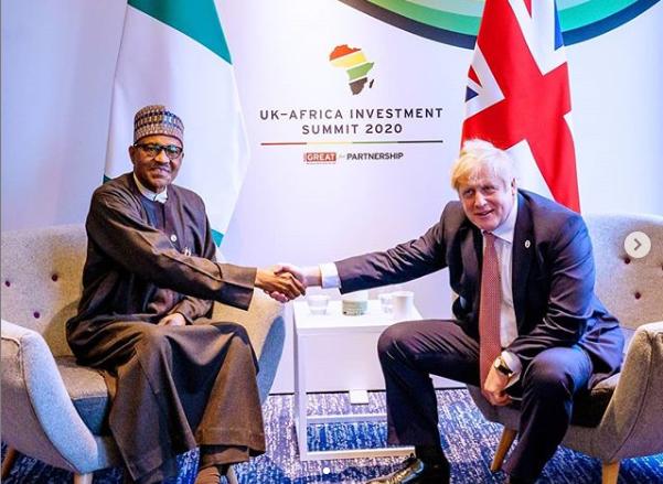 President of nigeria Buhari meets UK's Prime Minister, Boris Johnson (photos)