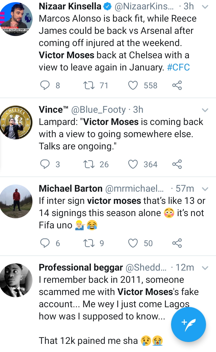 The internet reacts after Inter Milan agree terms with Ex-Super Eagles of Nigeria winger Victor Moses over loan move
