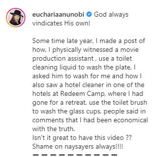 Eucharia Anunobi recounts how a hotel cleaner at RCCG's Redemption camp used a toilet brush to wash glass cups lindaikejisblog 1