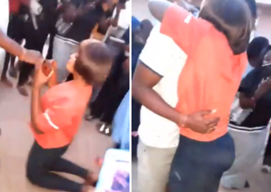 viral video As Young Lady Proposes To Her Boyfriend In School And He Accepts