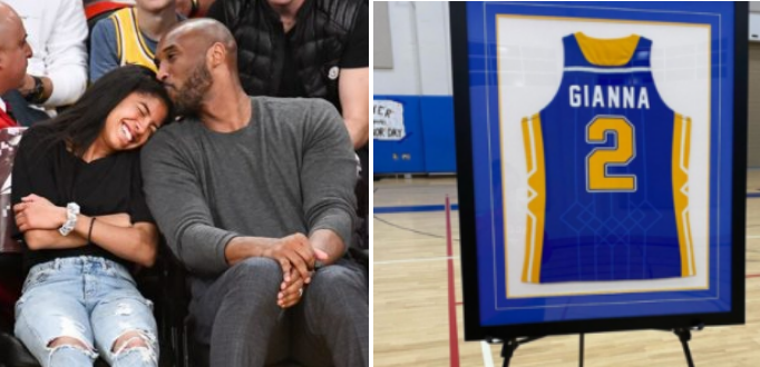 Moment Late Kobe Bryant Daughter, Gianna's Jersey Gets Retired full video