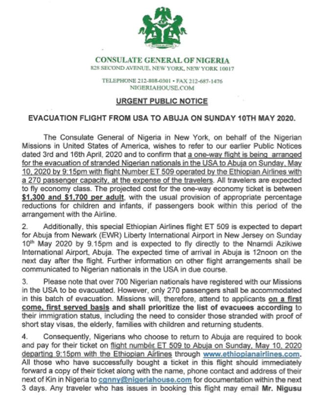 Nigeria news : Nigerian govt to evacuate 270 Nigerians from US
