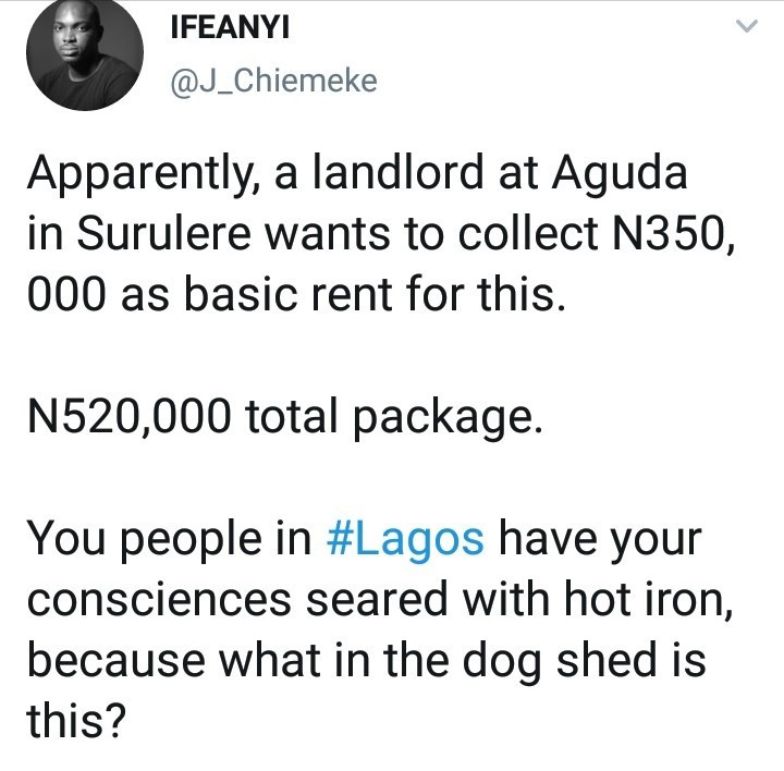 Nigerian lawyer shares photos to show the state of an apartment a landlord in Aguda is renting for 350,000