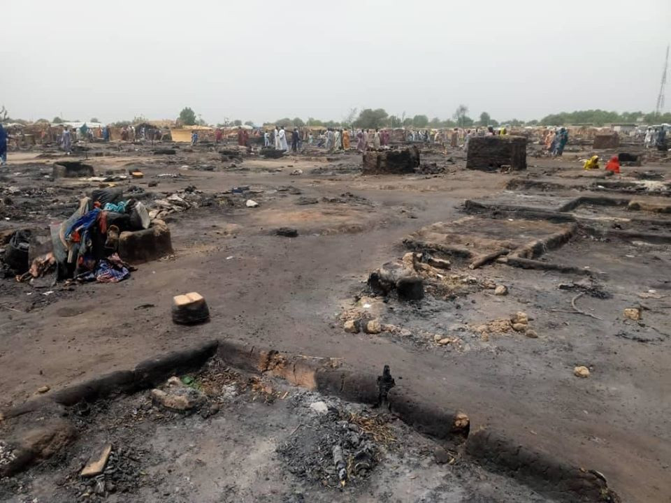 1 killed as fire razes IDP camp in Borno (photos)