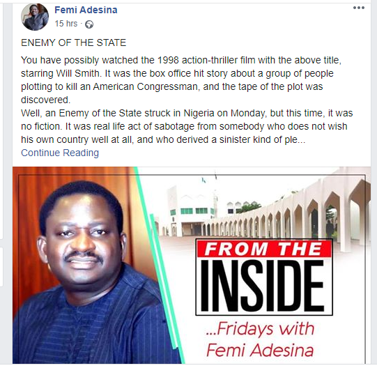 We've caught and dealt with the 'Enemy of the State' who leaked President Buhari's speech - Femi Adesina 1