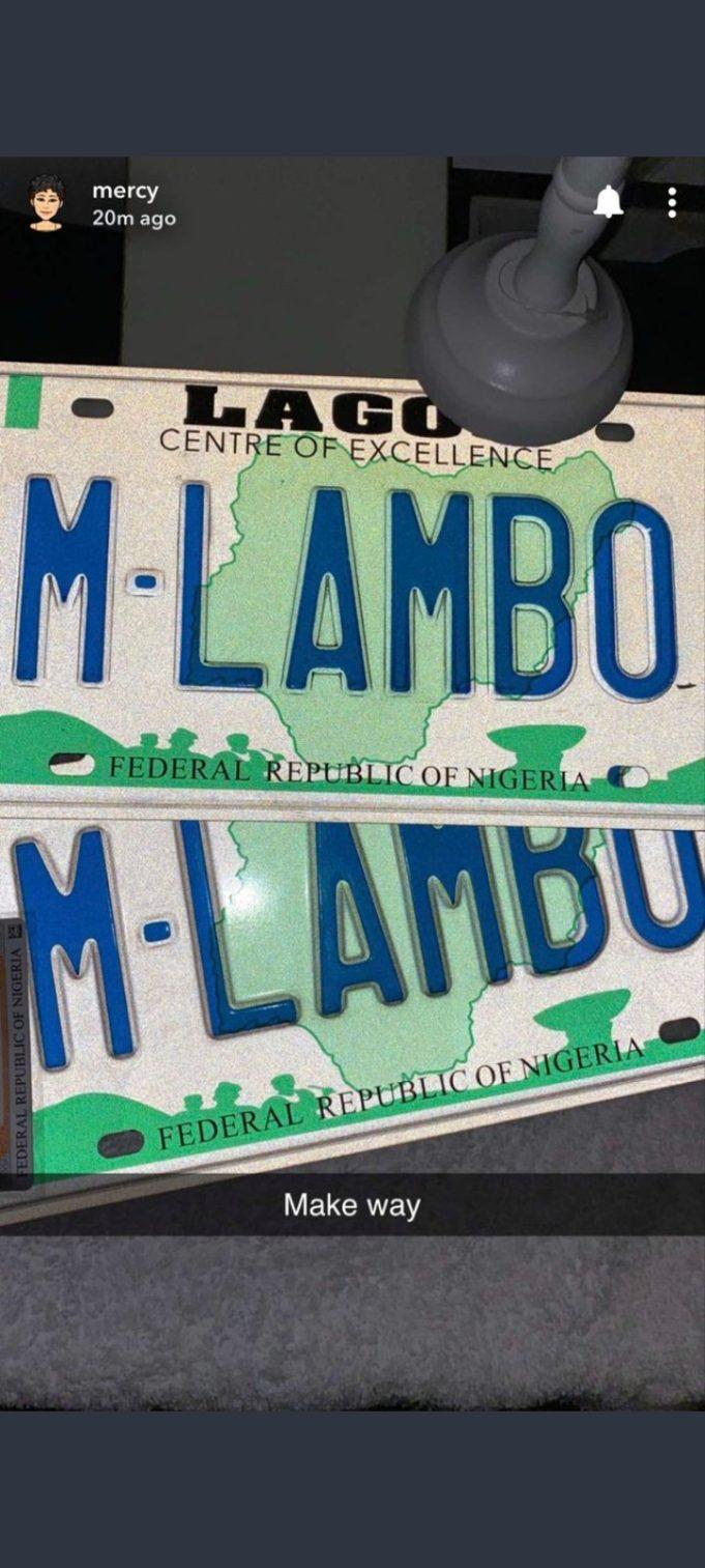 Mercy Eke Brags As She Becomes The First BBNaija Housemate To Own A Customized Plate Number