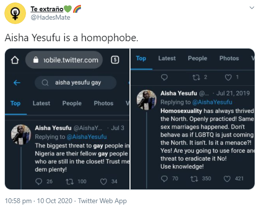 Bisi Alimi, others call out Aisha Yesufu for being a homophobe as she is praised by others for bravely championing end SARS protest