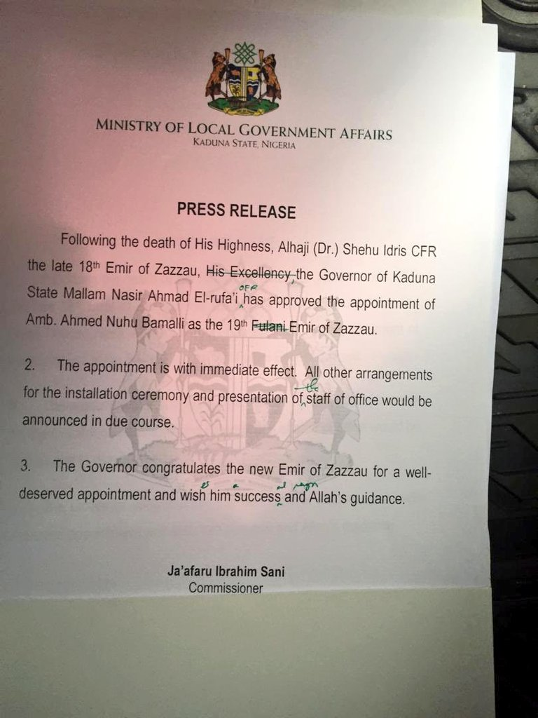 Nigeria news : BREAKING: Gov El-Rufai appoints new Emir of Zazzau