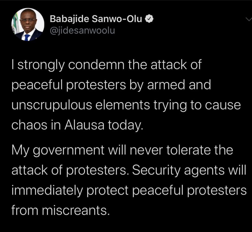 Nigeria news : #EndSARS Sanwo-Olu condemns attack by hoodlums on protesters in Lagos