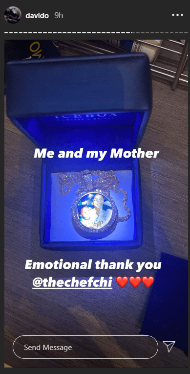 Birthday: Davido emotional as Chioma gifts him diamond crusted pendant customized with a photo of him and his late mum