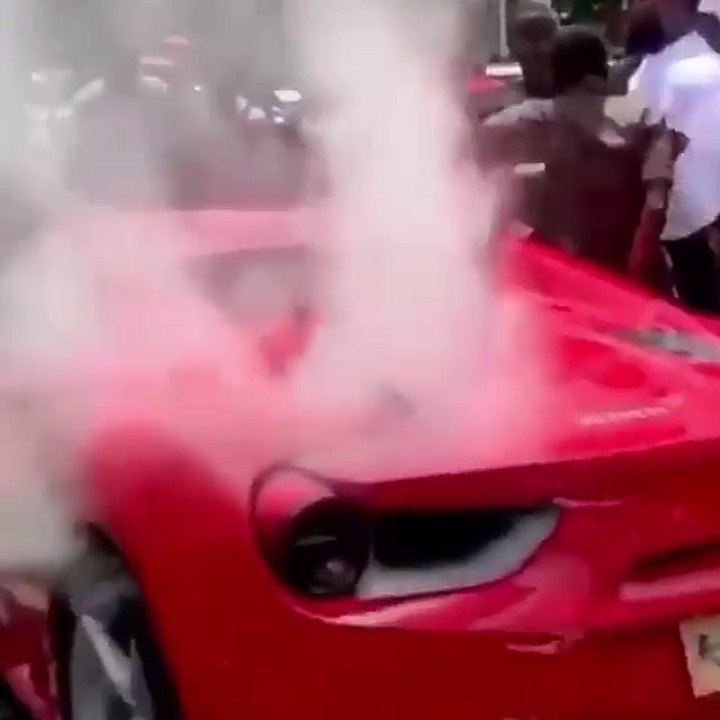 Ginimbi's Ferrari overheats while it was being driven to his farewell ceremony (video)