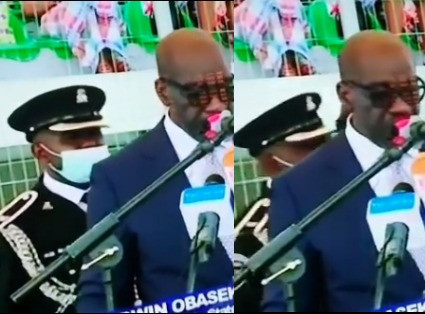 Governor Obaseki's ADC collapses at his swearing-in ceremony